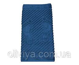Махровый коврик для ног 50х70 синий, фото 3