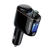FM трансмиттер модулятор + Прикуриватель Baseus Locomotive Bluetooth 3.4A 2USB Black (CCALL-RH01)