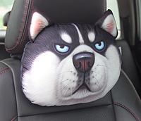 Подушка для подголовника в машину, собака хаски, дорожная подушка-подголовник с 3D принтом