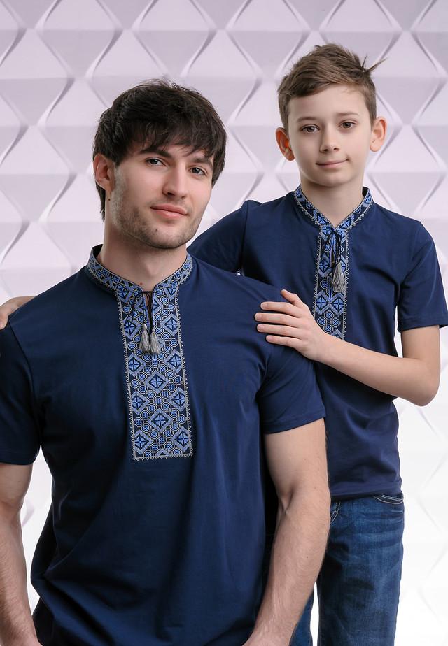 Парные футболки вышиванки с синим орнаментом Папа - сын