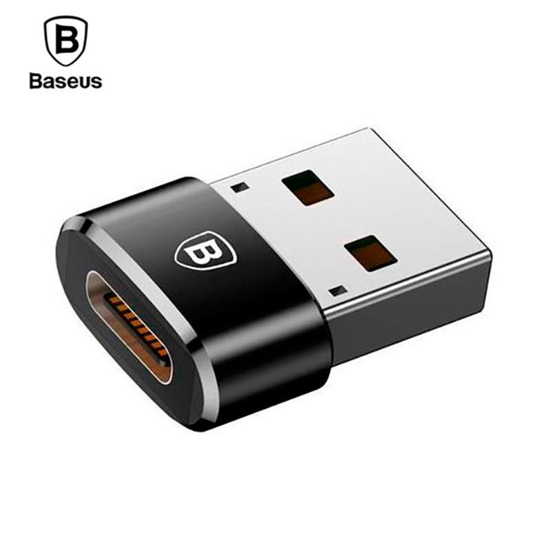 Переходник-адаптер Baseus USB 2.0 к Type-C CAAOTG-01 (Черный)