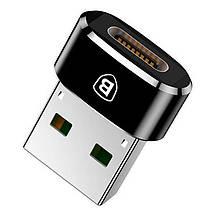 Переходник-адаптер Baseus USB 2.0 к Type-C CAAOTG-01 (Черный), фото 3