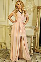 Женское длинное вечернее платье «Юлиана» (S, М, L) (Пудровое, черное, бежевое)