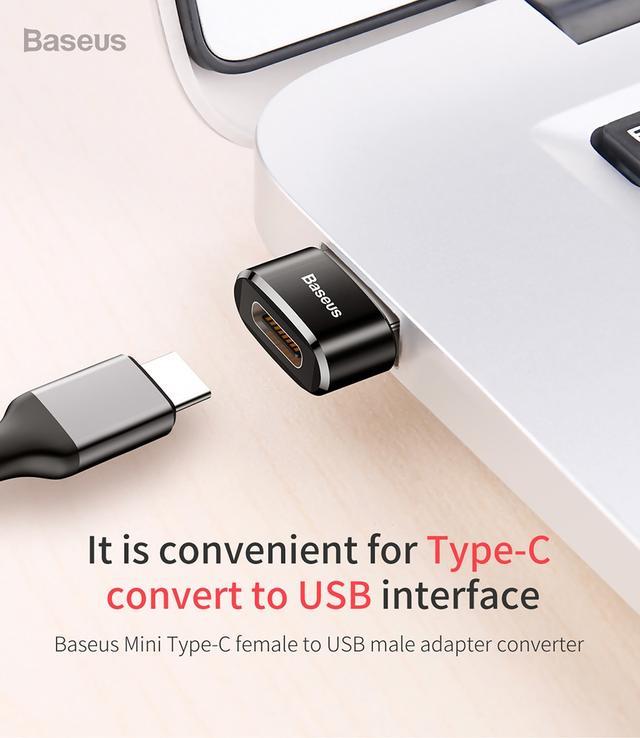 Перехідник-адаптер OTG Baseus Mini USB to USB Type-C CAAOTG-01 Чорний