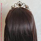 Корона під золото з червоними камінцями, діадема, тіара, висота 5,5 див., фото 3