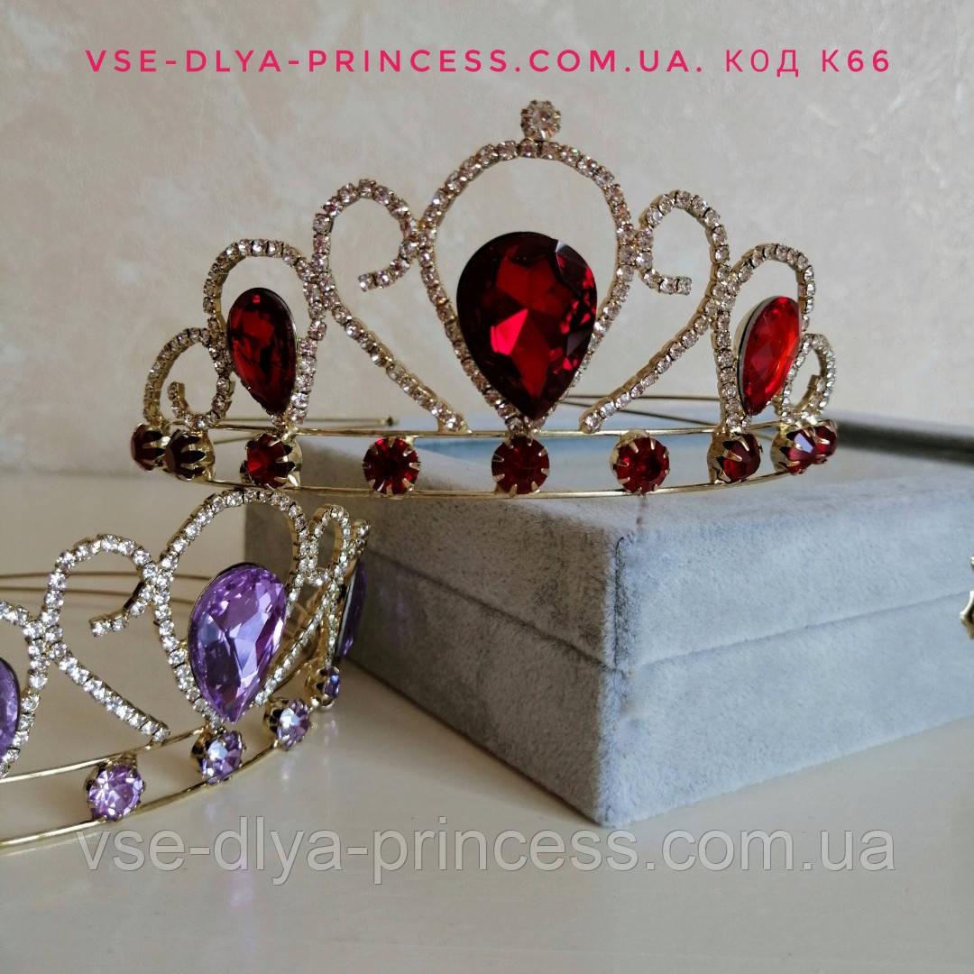 Корона под золото с красными камнями, диадема, тиара, высота 5,5 см.