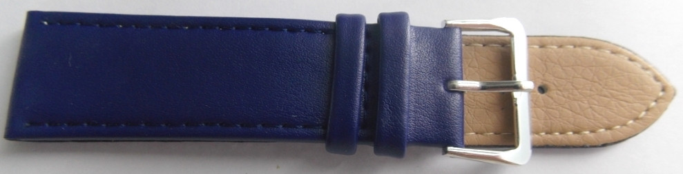 Ремінець шкіряний LUX-PL (Польща) 22 мм, темно-синій