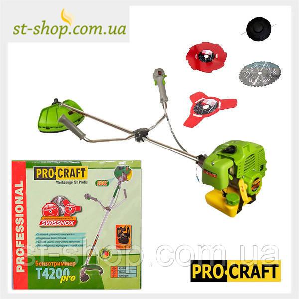 Бензокоса ProCraft T-4200 Pro (3 НОЖА, 1 КАТУШКА)