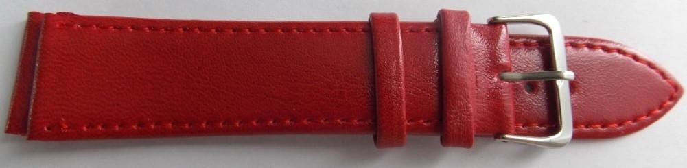 Ремешок кожаный LUX-PL (Польша) 22 мм, темно-красный