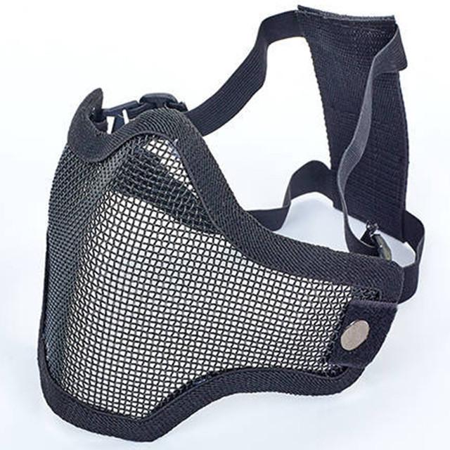 Маска защитная пол-лица из стальной сетки для пейнтбола черные CM01
