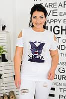 Женская летняя футболка №15188/1 (р.50-56) белая, фото 1
