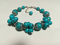 Браслет из Бирюзы, натуральный камень, цвет голубой и его оттенки, тм Satori \ Sb - 0162