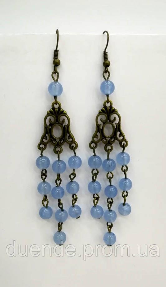 Серьги Аквамарин натуральный камень, бронза, цвет оттенки голубого, тм Satori \ S-0085