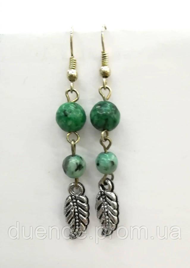 Серьги из Яшмы, натуральный камень, цвет зеленый и его оттенки, тм Satori \ S - 0178