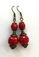 Серьги с Кораллом, натуральный камень, бронза, цвет красный, тм Satori \ S - 0255