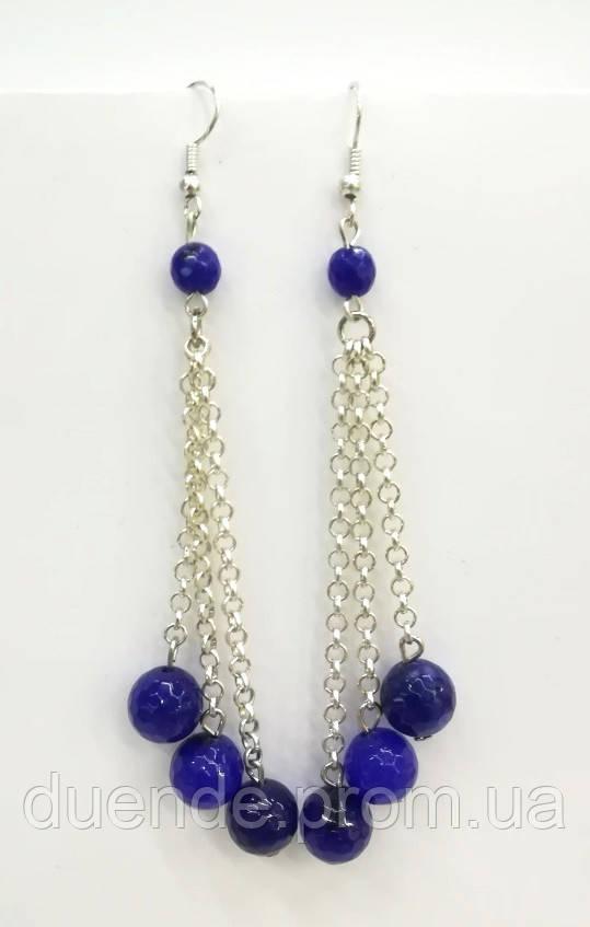 Серьги из Агата, натуральный камень, цвет синий и его оттенки, тм Satori \ S - 0302