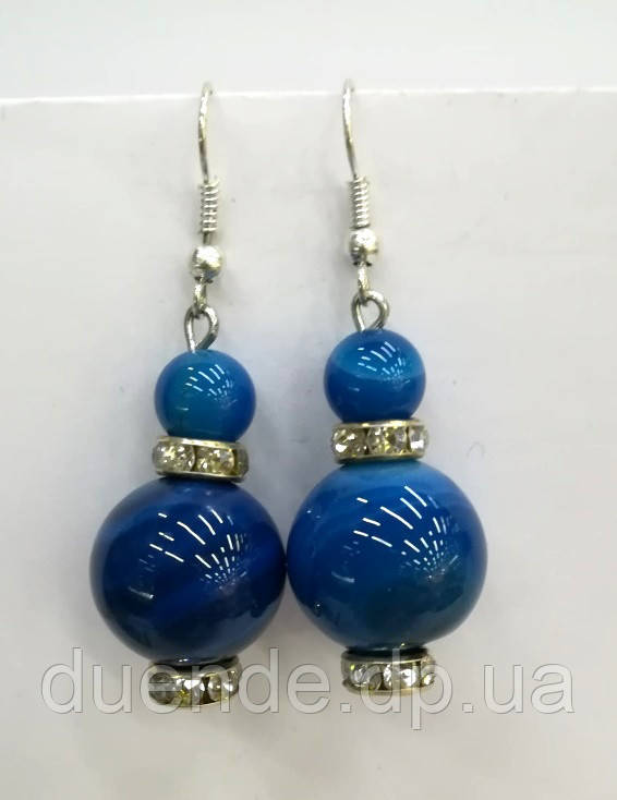 Серьги из Агата, натуральный камень, цвет сине-голубой и его оттенки, тм Satori \ S - 0308