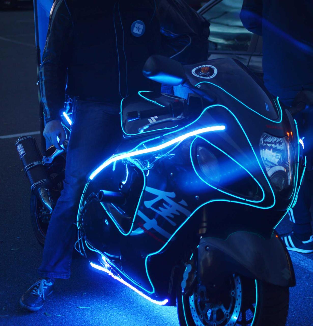 Работы по освещению мототехники холодным неоном и светодиодами