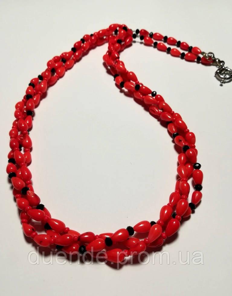 Колье трехрядное из Коралла, натуральный камень, цвет оранжевый и его оттенки, тм Satori \ Sk - 0024