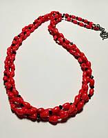 Колье трехрядное из Коралла, натуральный камень, цвет оранжевый и его оттенки, тм Satori \ Sk - 0024, фото 1