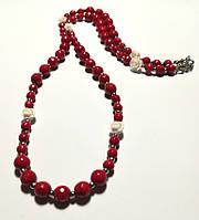 Коралловое колье, натуральный камень, цвет красный и его оттенки, тм Satori \ Sk - 0026