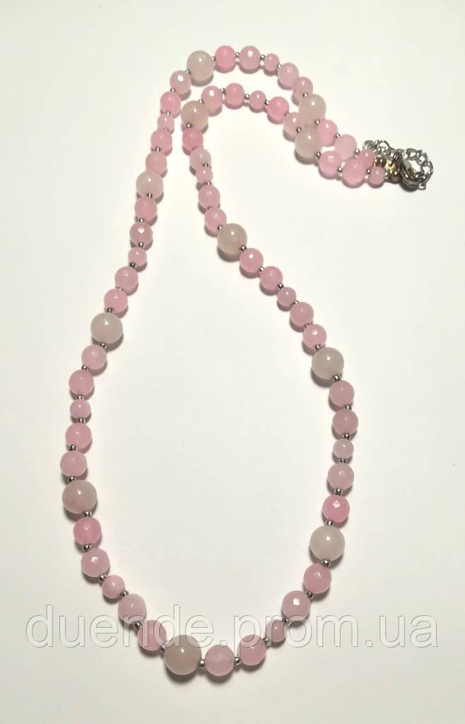 Колье из Розового кварца, натуральный камень, цвет розовый и его оттенки, тм Satori \ Sk - 0030
