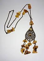Подвеска из Янтаря с цепочкой, натуральный камень, цвет янтарный и его оттенки, тм Satori \ Sk - 0037