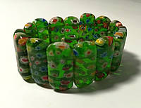 Браслет из Муранского стекла, цвет зеленый, тм Satori \ Sb - 0199
