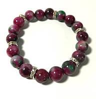 Браслет из Турмалина, натуральный камень, цвет оттенки красного, бордового, тм Satori \ Sb - 0193