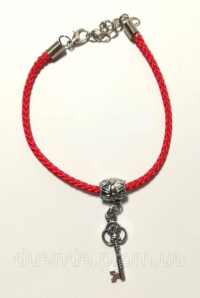 Браслет Красная нить с подвеской Ключик - достаток, браслет обереговый \ Sb - 0238.