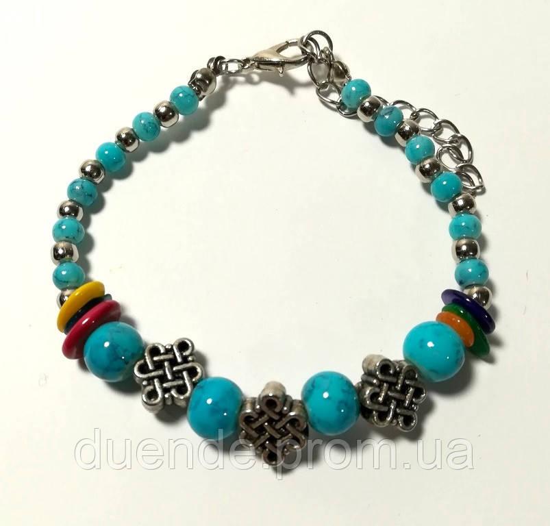 Браслет из бусин голубой, бижутерия \ Sb - 0219.