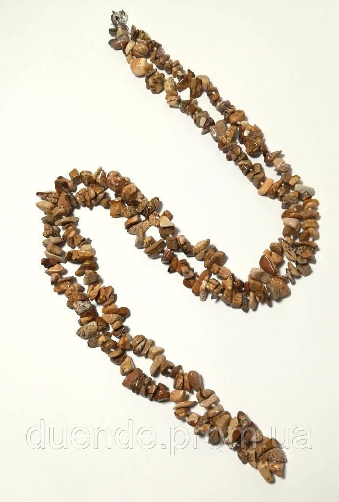 Бусы длинные из Яшмы пейзажной, натуральный камень, длина 100 см, тм Satori \ Sk - 0060