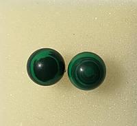 Серьги гвоздики из Малахита прес. 8 мм, натуральный камень, тм Satori \ S - 0338