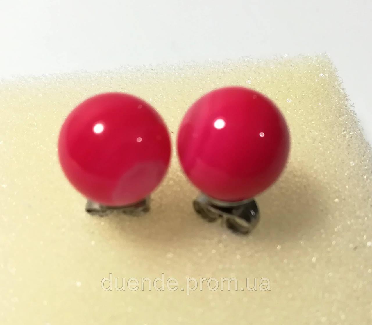 Серьги гвоздики из Агата 8 мм, натуральный камень, цвет малиновый и его оттенки, тм Satori \ S - 0340