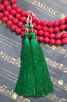 Серьги кисти Зеленые длина 11 см, серьги кисточки шелк, вставки натуральный камень, тм Satori