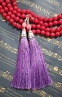 Серьги кисти цвет лиловый длина 11 см, серьги кисточки шелк, тм Satori
