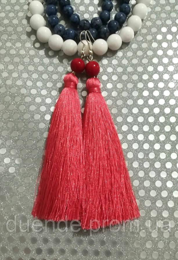 Серьги кисти розовые длина 11 см, серьги кисточки шелк, вставки натуральный камень, тм Satori