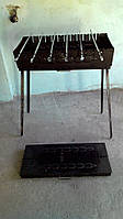 Стальной мангал  670*335 мм с ножками на 10 шампуров