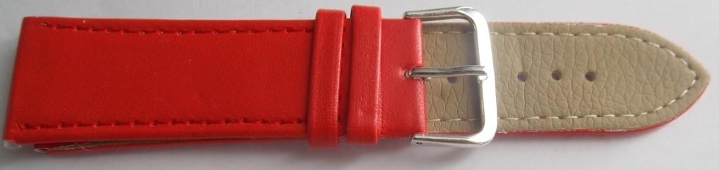 Ремешок кожаный LUX-PL (Польша) 24 мм, красный