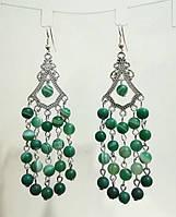 Серьги из Агата натуральный камень цвет зеленый, тм Satori