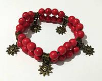 Браслет Коралловый двойной, натуральный камень, цвет красный, бронза, тм Satori \ Sb - 0001