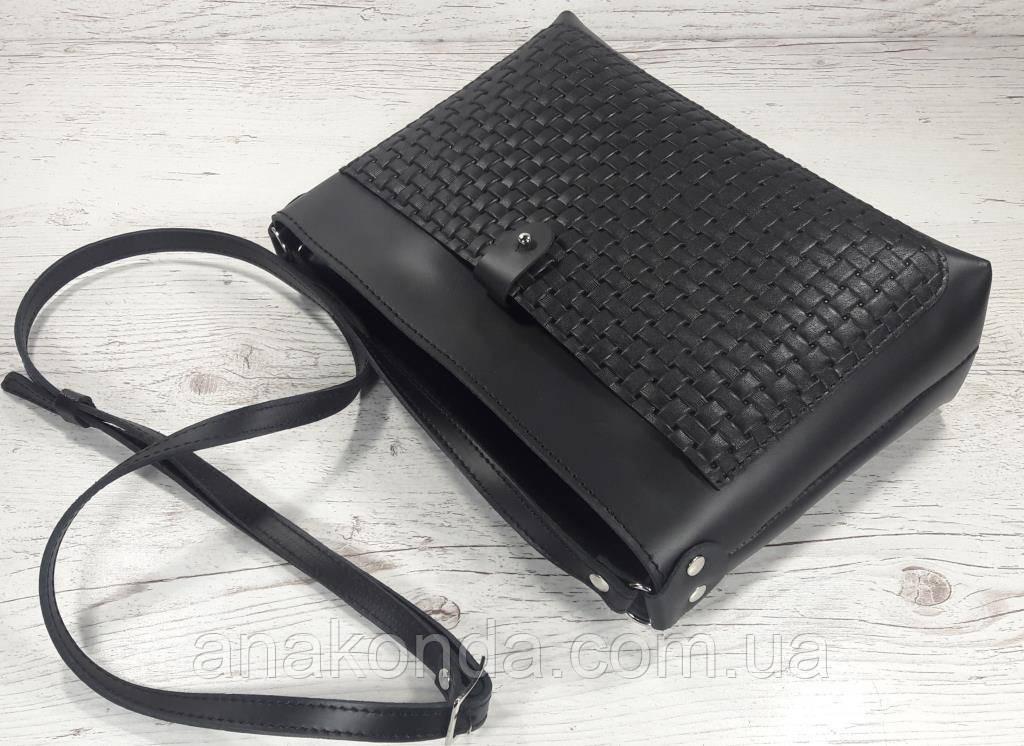 76407a65d855 21-1 Натуральная кожа, Сумка- клатч, черная с тиснением соломка БЕЗ ЦЕПОЧЕК
