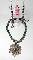 Колье + серьги Цоизит, натуральный камень, бронза, цвет зеленый и его оттенки, тм Satori \ Sn - 0006