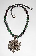 Колье из Цоизита, натуральный камень, бронза, цвет зеленый и его оттенки, тм Satori \ Sk - 0003