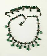 Колье + браслет из Хризопраза и Нефрита, натуральный камень, бронза, тм Satori \ Sn - 0008