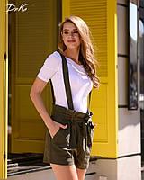 Женские стильные шорты на бретельках№41271(р.42-48) хаки, фото 1
