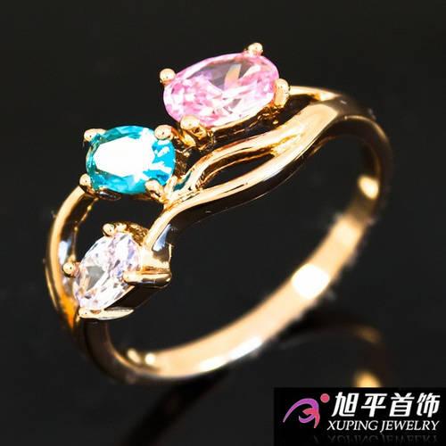 Кольцо лимонное золото с цветными овальными камнями