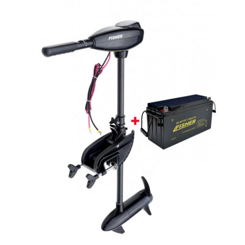 Електромотор для троллінгу Fisher 46+акумулятор гел 150Ah, Fisher 46+150