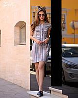 Платье лен в полоску №41283 (р.42-56) серо-розовое, фото 1
