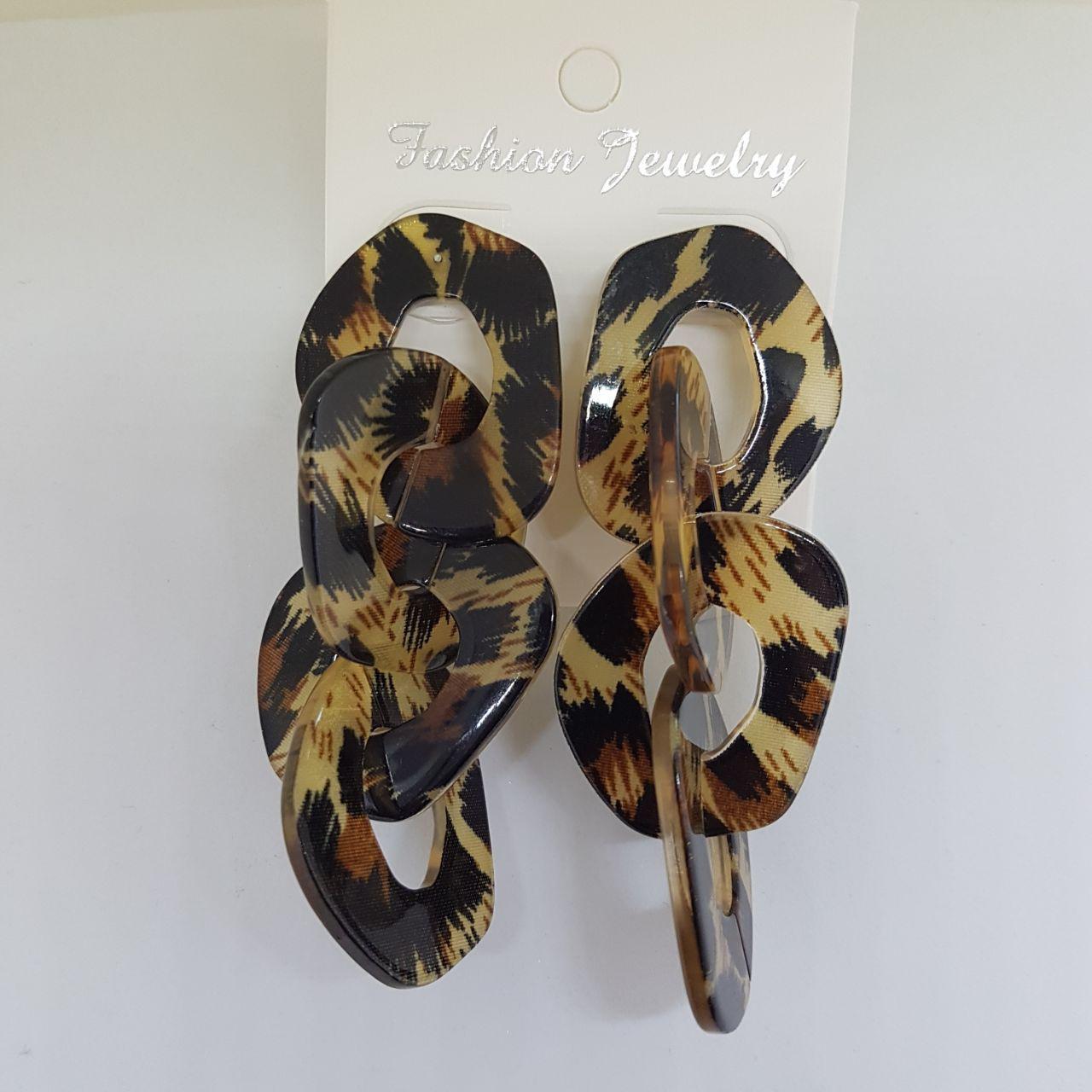 Серьги женские из 4 сегментов Safari Fashion Jewelry тигр (арт. ear-saf-tiger)